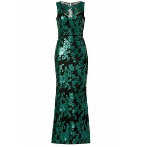 Badgley Mischka Green Black Lace Mermaid Gown